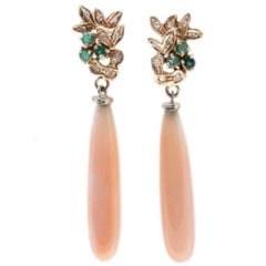 Luise Diamond Emerald and Coral Drop Earrings