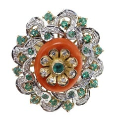 Luise Gold Diamond Emerald Coral Cocktail Ring