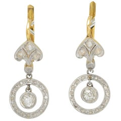 Antique Belle Époque Diamond Halo Leverback Earrings