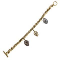 Boregaard Gold Fancy Diamond Toggle Charm Bracelet