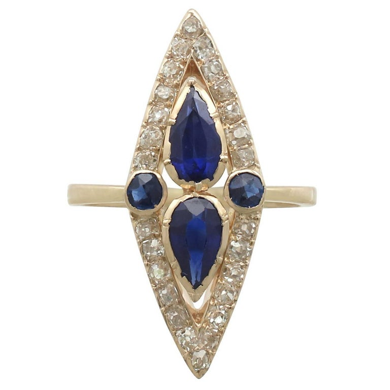 Victorian 1.35 Carat Sapphire and 1.32 Carat Diamond Yellow Gold Marquise Ring