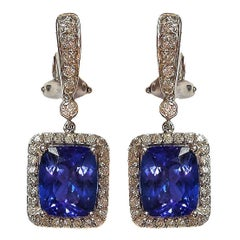 Tanzanite Diamond Gold Earrings