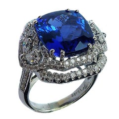 10.32 Carat Tanzanite Ring with Diamonds