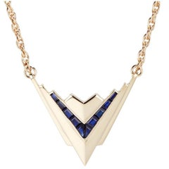 Cushla Whiting 'Metropolis' 18 Carat Gold Pendant with Deep Blue Sapphires