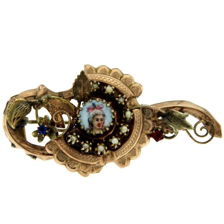 Victorian Enamel Gold Brooch
