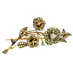 Gold Diamond Pearl Floral Boquet Brooch