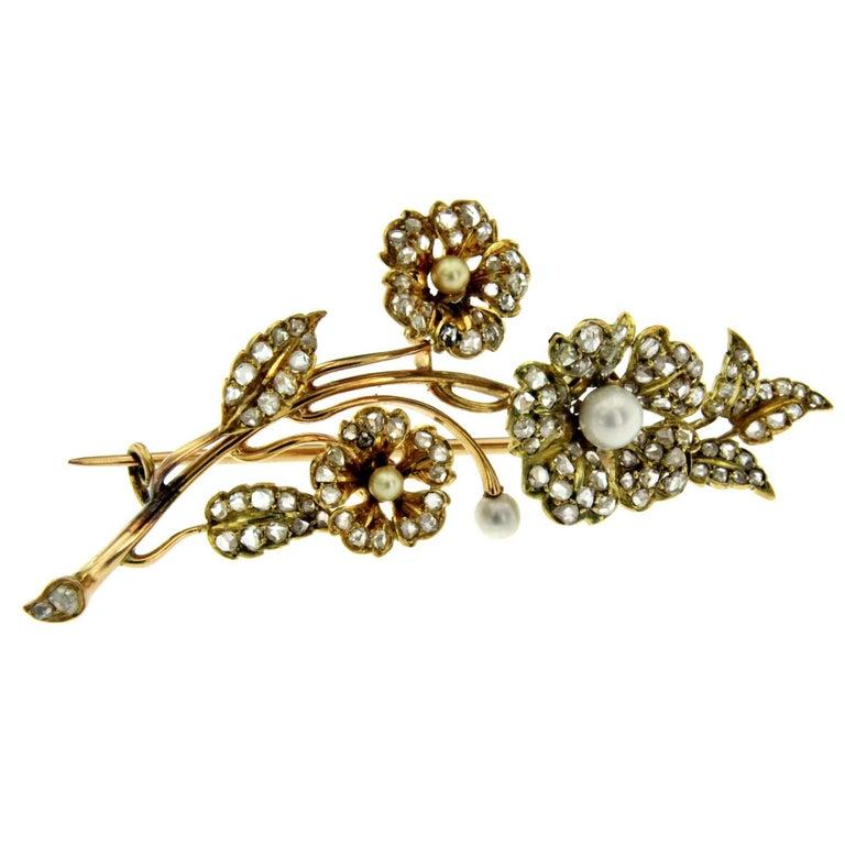 Gold Diamond Pearl Floral Boquet Brooch