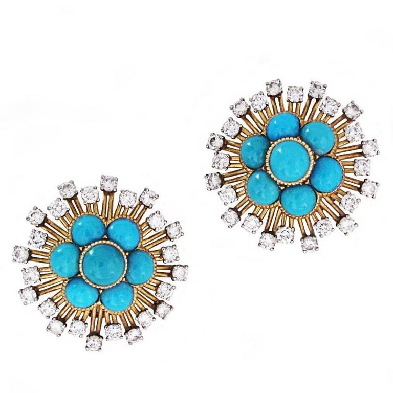 Cartier Turquoise and Diamond Cluster Earrings 1