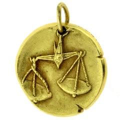 Van Cleef & Arpels Yellow Gold Libra Zodiac Single Coin Pendant