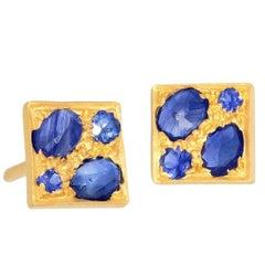 Lauren Harper Blue Sapphire Granulated Petite Quad Stud Earrings