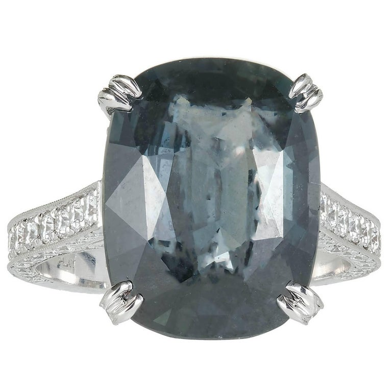 Peter Suchy GIA Certified 9.74 Carat Sapphire Diamond Platinum Engagement Ring