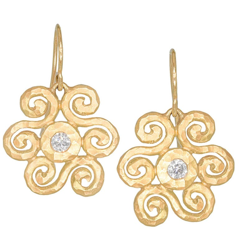 Pamela Froman White Diamond Gold Handmade Scroll Crush Dangle Earrings For Sale