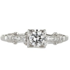 Jabel EGL Certified Diamond Platinum Engagement Ring, circa 1940
