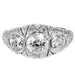 1.12 Carat Art Deco Old European Cut Diamond Platinum Engagement Ring
