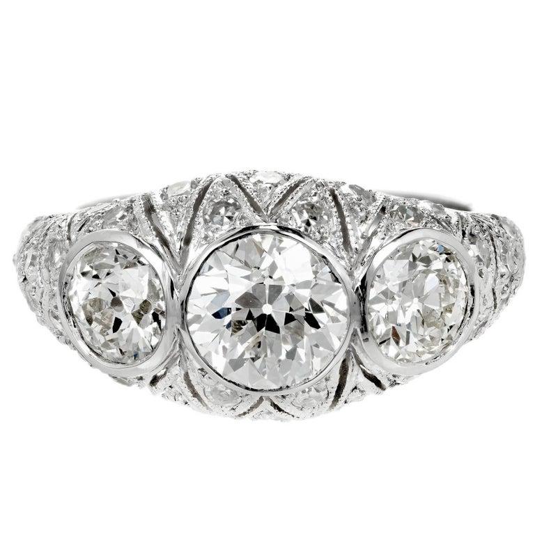 1.12 Carat Art Deco Old European Cut Diamond Platinum Engagement Ring