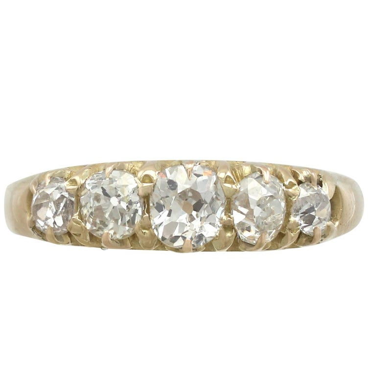 1900s Diamond and Yellow Gold Five-Stone Ring