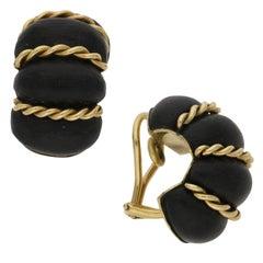 Seaman Schepps Ebony Gold Clip Earrings