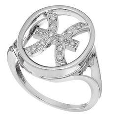 18 Carat White Gold White Diamonds Zodiac Pisces Astro Stackable Ring