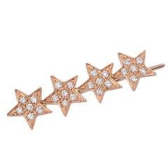 18 Carat Yellow Gold Four Star Sets White Diamonds One Stella Starlight Earring
