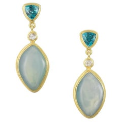 Gold, Peruvian Opal, Diamond and Zircon Earrings