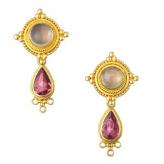 Kimarie Moonstone and Granulated Gold Earrings