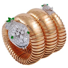 Bulgari Ladies Yellow Gold Diamond Emerald Eyes Serpenti Bracelet Wristwatch