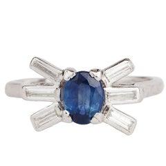 Platinum Art Deco Natural Cornflower Blue Sapphire and Diamond Ring