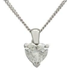 1990s 1.02 Carat Diamond and White Gold Heart Pendant