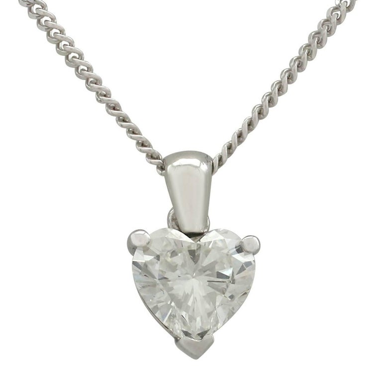 1990s 1.02 Carat Diamond and White Gold Heart Pendant