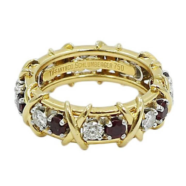 Tiffany & Co. Schlumberger Ruby Diamond Gold Band