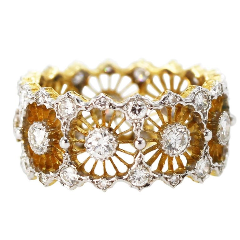 Buccellati Diamond and Two-Tone Gold Band Ring