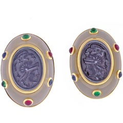 Trianon Intaglio Cabochon Gemstone Earrings
