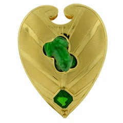 Crevoshay Lily Pad and Frog Jade Chrome Diopside Yellow Gold Brooch