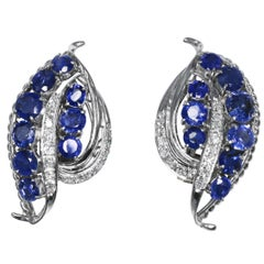 1950s Sapphire and Diamond Foliate Earclips