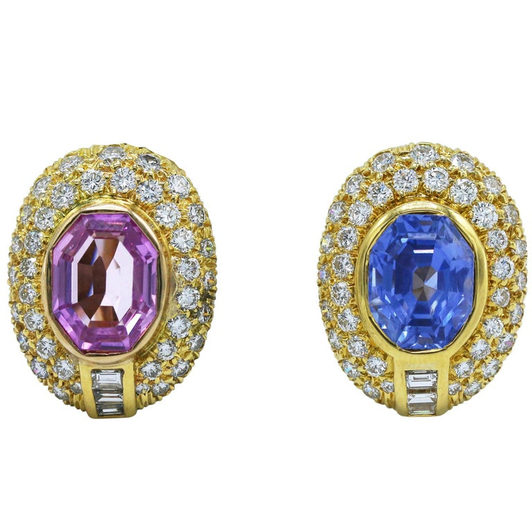Unheated Blue and Pink Sapphire and Diamond Earclips