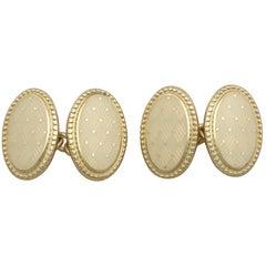 Enamel and Yellow Gold Cufflinks by Longmire