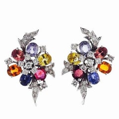 1950s Diamond Gemstone Cluster Pierced Earrings