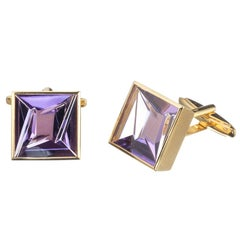 Munsteiner Fantasy Cut Amethyst Cufflinks in 18 Karat Yellow Gold