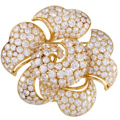 Bulgari Large Diamond Pave Gold Flower Brooch