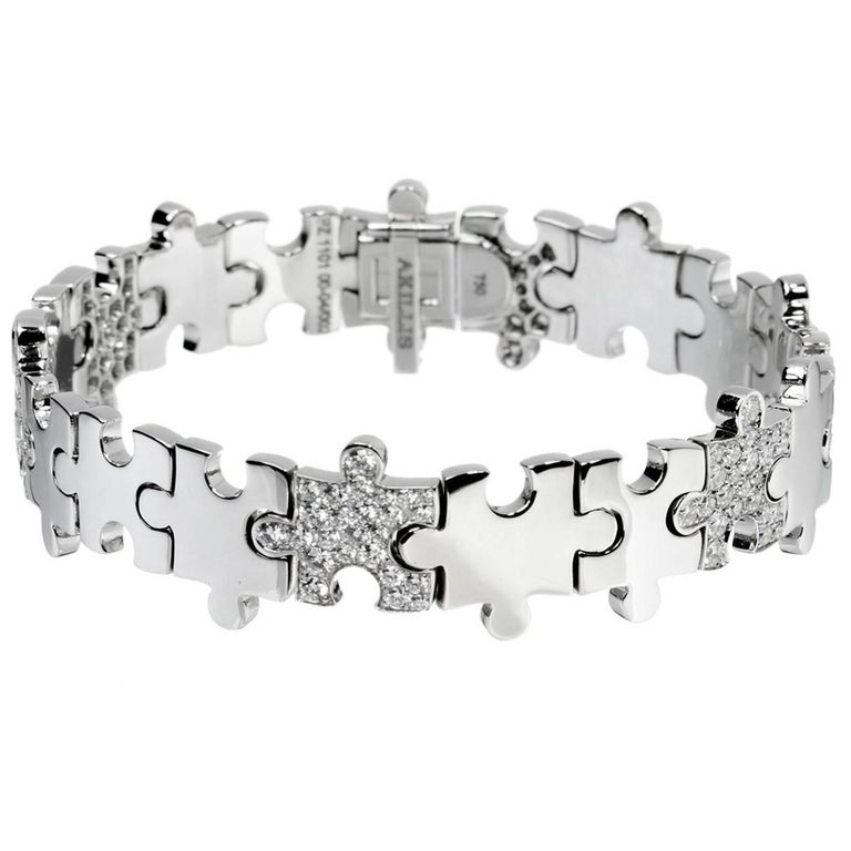 Akillis Puzzle Bracelet 18 Karat White Gold Half Set Diamonds For