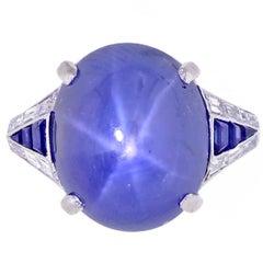Paul Gillot Art Deco Natural Star Sapphire Ring