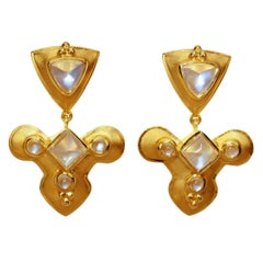 Blue Flash Moonstone Earrings by Crevoshay