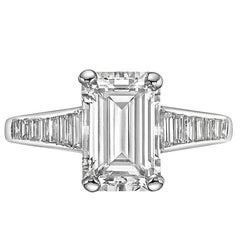 GIA Report 2.32 carat Emerald-Cut Diamond Engagement Ring