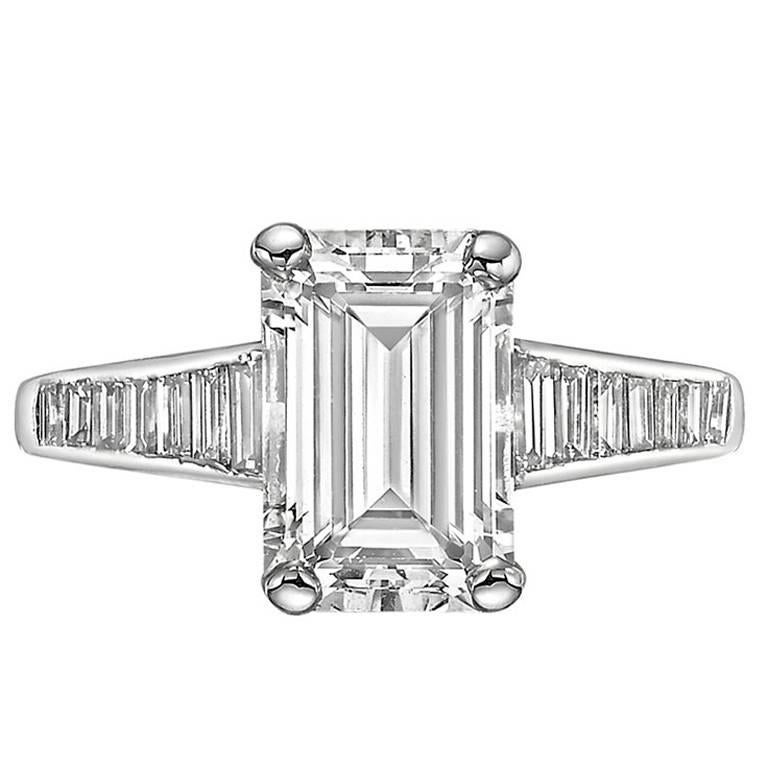 GIA Report 2.32 carat Emerald-Cut Diamond Engagement Ring 1