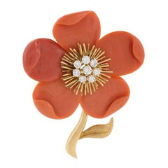 "Van Cleef & Arpels 1960s Coral Diamond Gold ""Clematis"" Brooch"