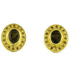 Creovshay Smoky Topaz and Brown Diamond 18 Karat Yellow Gold Earrings