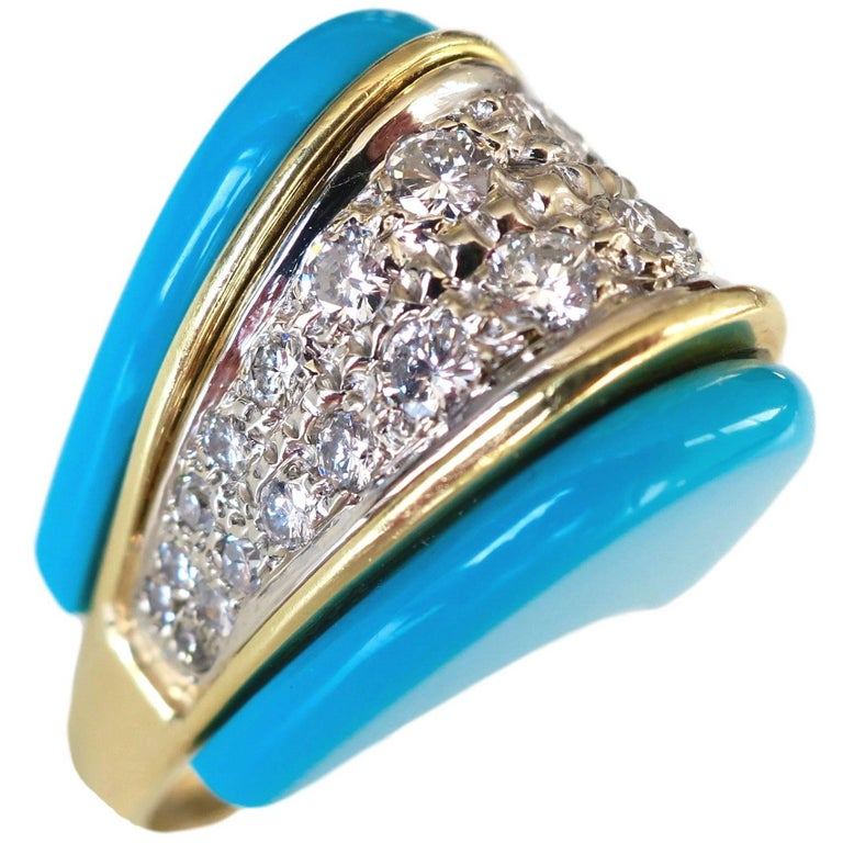 1970s Turquoise and Diamond Ring For Sale