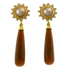 Crevoshay Pearl and Brown Moonstone Earrings