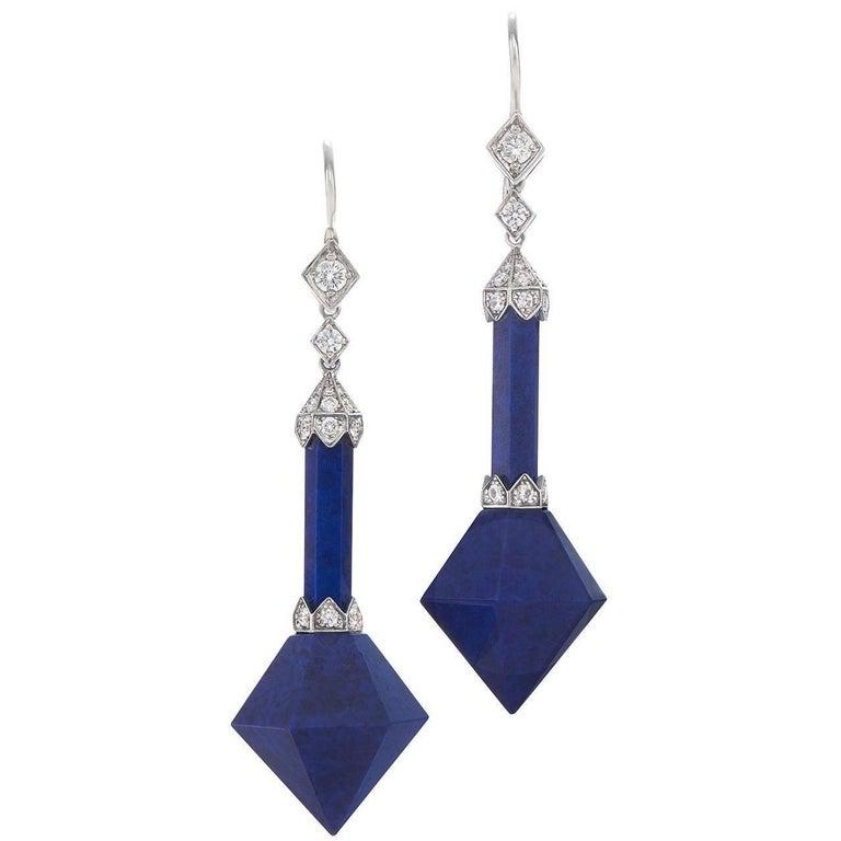 Fred Leighton  Lapis Lazuli  Diamond Prism Pendant Earrings 1
