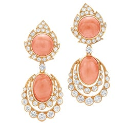 1960s Van Cleef & Arpels Coral Diamond Pendant Earrings